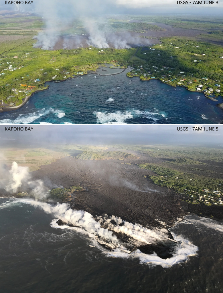 Kapoho Bay Before and After filled with Lava