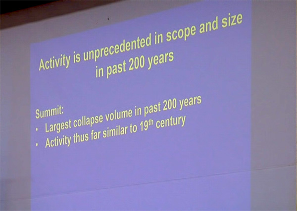 "Slide from talk with bullet point list: Activity is unprecedented in scope and size in past 200 years. [List headed by word ""summit""] Bullet point: Largest collapse volume in past 200 years. Bullet point: Activity thus far is similar to 19th century"