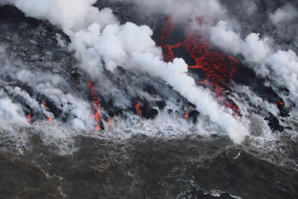 Ocean entry of lava